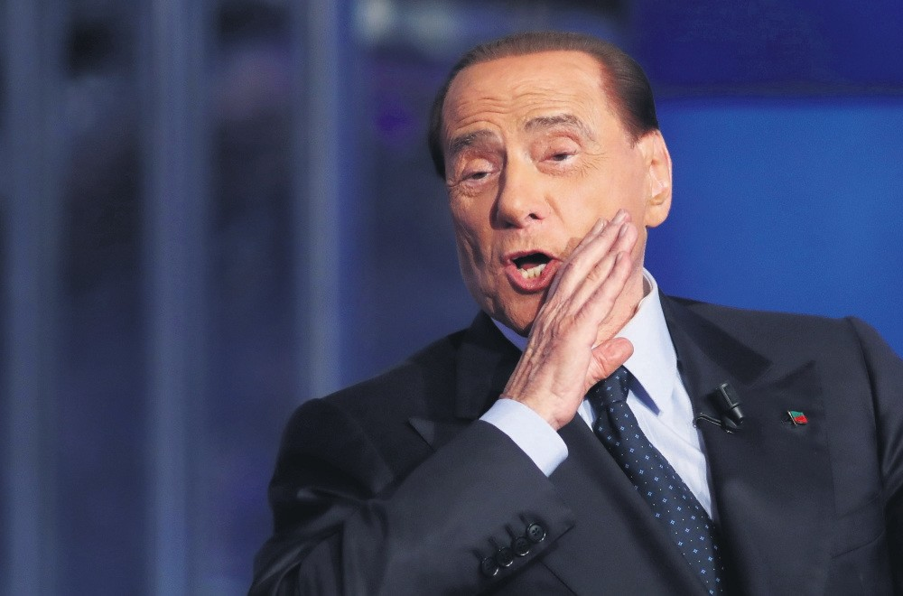 Italy's former prime minister Silvio Berlusconi gestures during a television talk show in Rome, Italy, June 21, 2017.