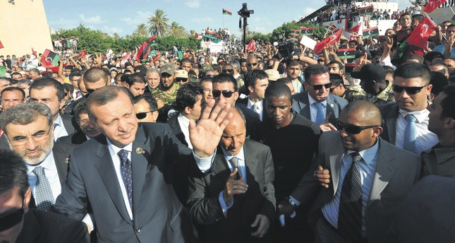 President Recep Tayyip Erdoğan was greeted by thousands of people during his visit to Murad Agha mosque in Tajura town, Libya, Sept. 17,  2011.