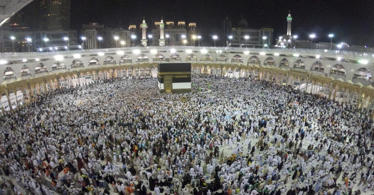 Pilgrims circumambulate the Kaaba, the holiest site in Islam, Saudi Arabia, July 31, 2019.