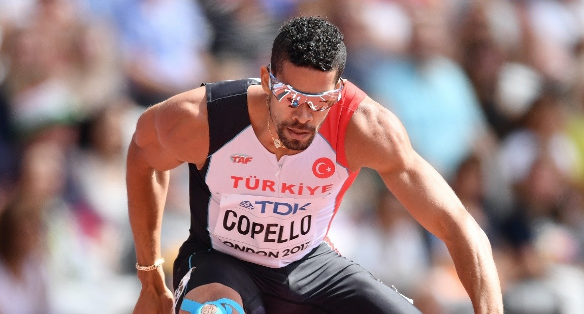 Yasmani Copello Escobar competes in the semifinal of the menu2019s 400m hurdles athletics event at the 2017 IAAF World Championships at the London stadium in London, Aug. 7, 2017.