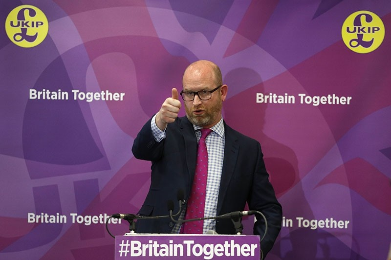 UKIP leader Paul Nuttall speaks during a campaign event at Westminster in London on June 6, 2017, ahead of the upcoming general election. (AFP Photo)