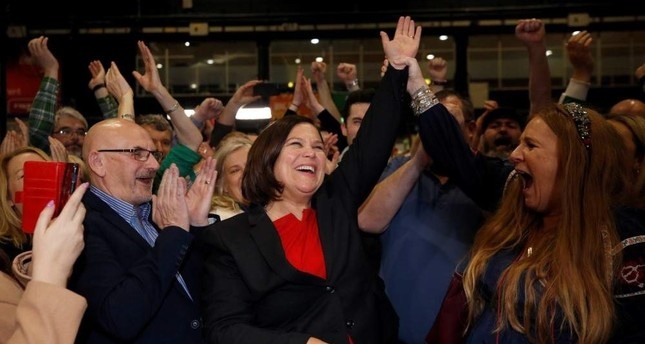 Sinn Fein leader Mary Lou McDonald reacts after the announcement of voting results in a count center, Dublin, Feb. 9, 2020. REUTERS Photo