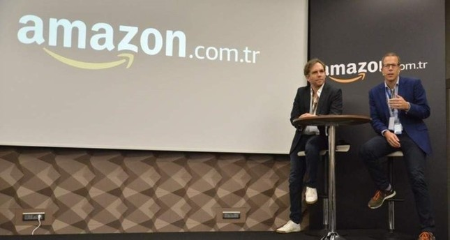 Amazon.com.tr Country Manager Richard Marriott R and Seller Services Country Leader Harmut Fink L address Turkish SMEs during the first vendor meeting of Amazon.com.tr, Istanbul, Nov. 6, 2019. AA Photo