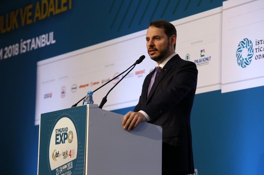 Treasury and Finance Minister Berat Albayrak speaks at the opening ceremony of the 22nd International Business Forum (IBF) in Istanbul, yesterday.