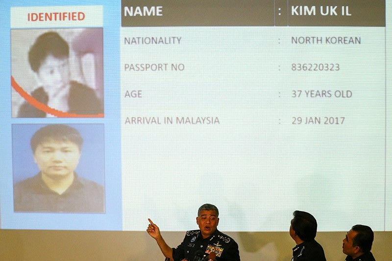Malaysia's Royal Police Chief Khalid Abu Bakar (C) speaks next to a screen showing North Korean Kim Uk Il during a news conference in Kuala Lumpur, Malaysia, February 22, 2017. (Reuters Photo)