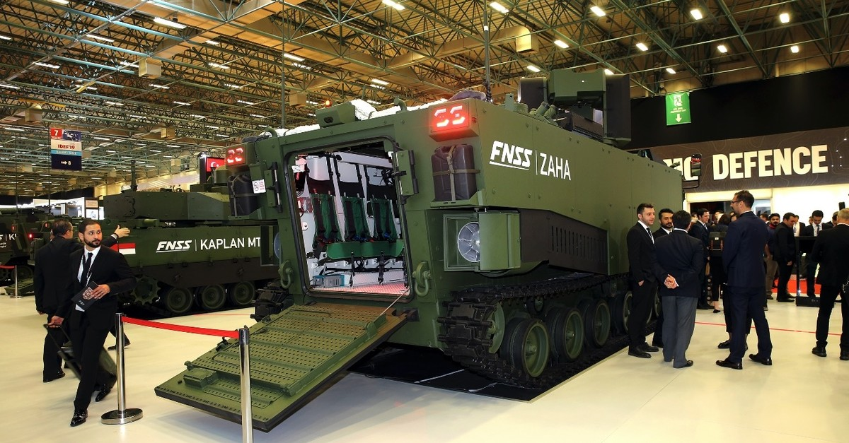 A prototype of armored amphibious assault vehicle, ZAHA, which is manufactured by FNSS, one of Turkeyu2019s leading defense contractors, is being showcased at the International Defense Industry Fair (IDEFu201919), Istanbul, May 1, 2019.