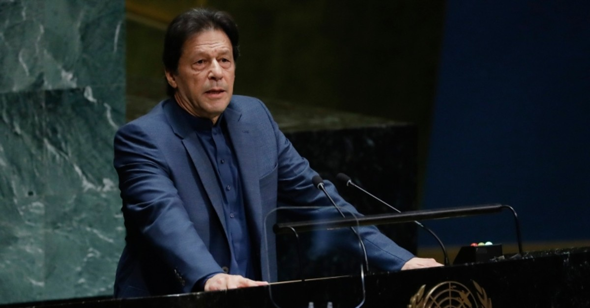 Pakistani Prime Minister Imran Khan addresses the 74th session of the United Nations General Assembly, Friday, Sept. 27, 2019, at the United Nations headquarters. (AP Photo)