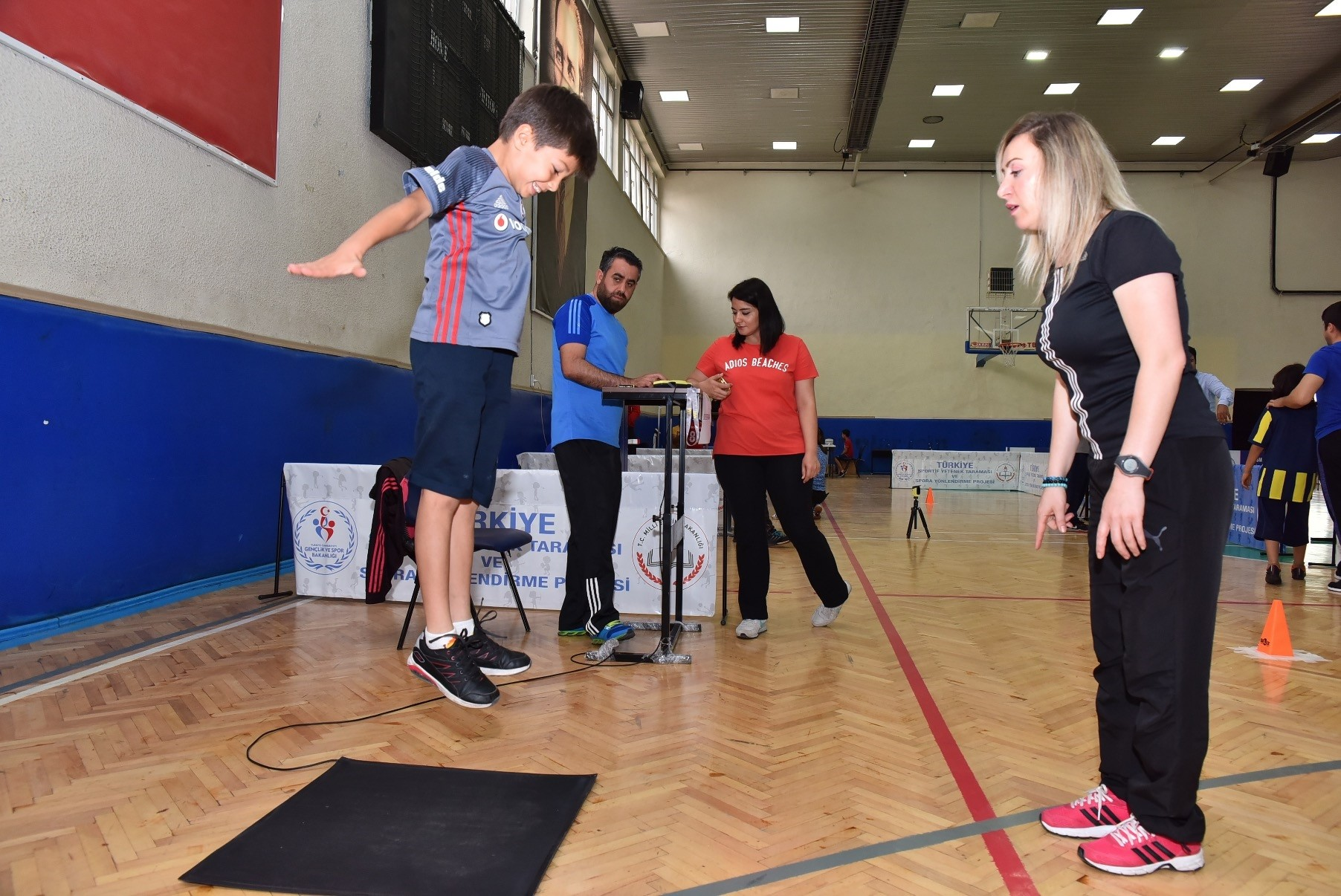 Scouts check the skills of young students across Turkey for their sports talent.