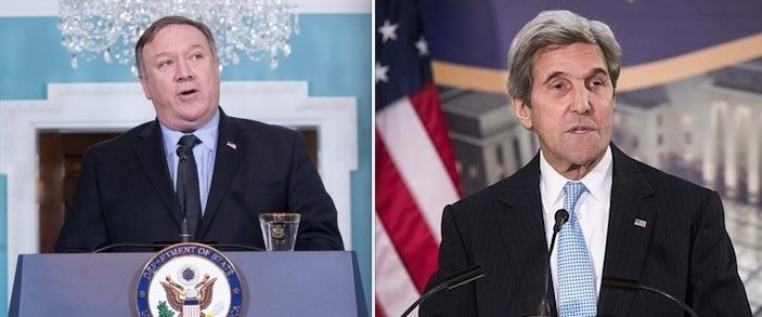 Pompeo (L) and Kerry
