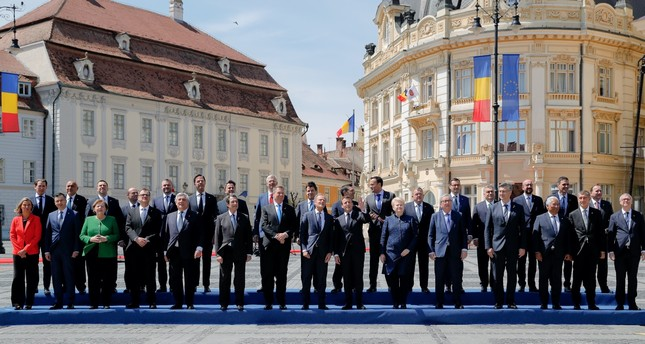 European Union leaders pose for a group photo at an EU summit, Sibiu, May 9, 2019.