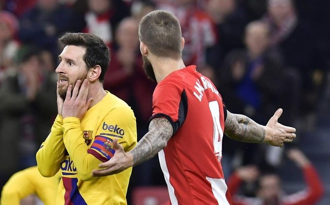 Messi reacts after a missed scoring opportunity during the Spanish Copa del Rey quarter final match against Athletic Bilbao, Feb. 6, 2020. AP Photo