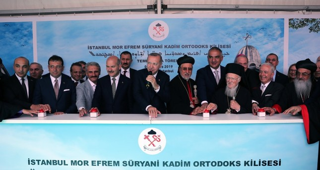 President Recep Tayyip Erdoğan, Syriac Church clerics and dignitaries launch the construction of the Mor Ephrem Church in Istanbul, Aug.3, 2019.
