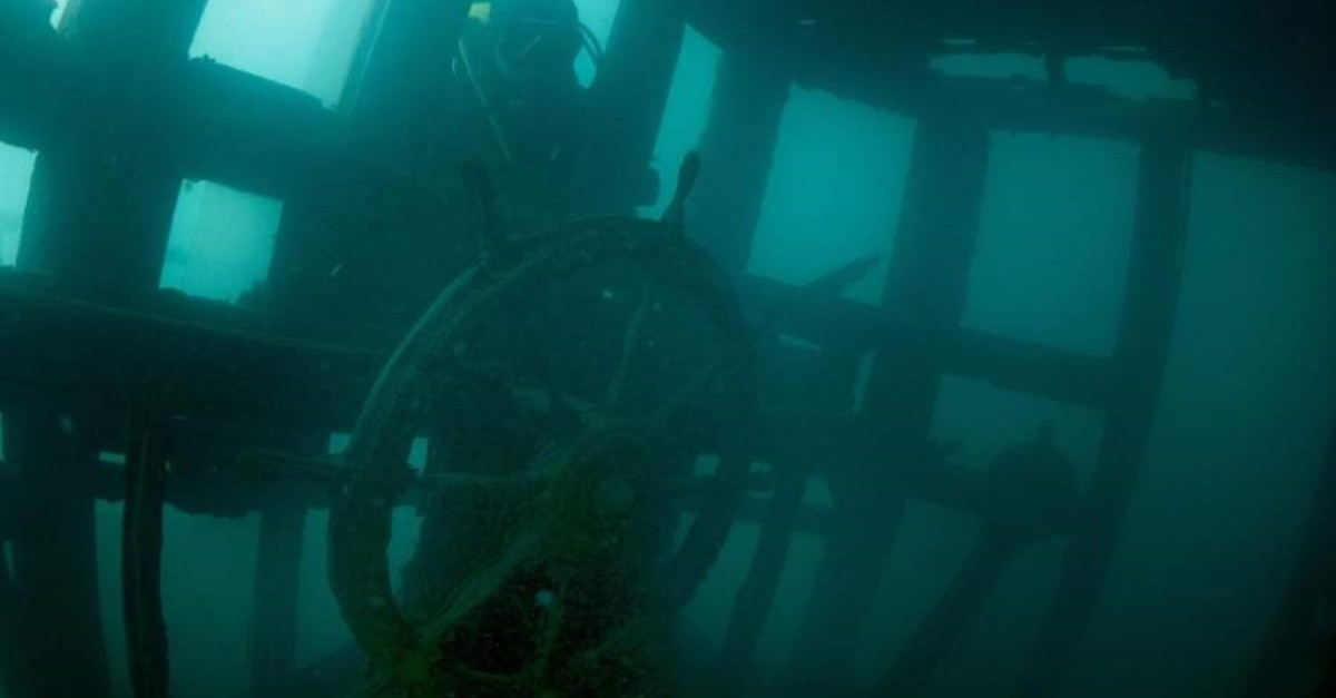 The sunken Russian ship is a frequently visited by divers in Lake Van. (DHA Photo)