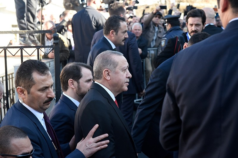 Turkish President Recep Tayyip Erdou011fan arrives at a mosque to attend Friday prayers in the city of Komotini, Greece Dec. 8, 2017. (Reuters Photo)