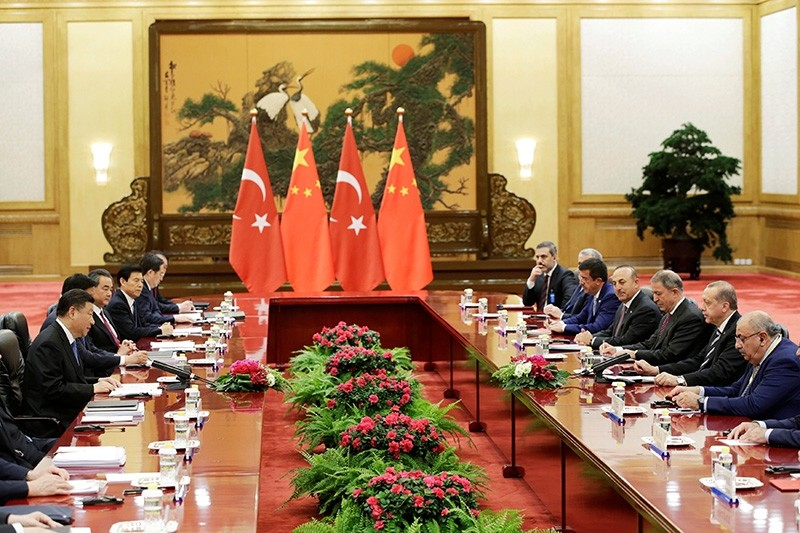 Turkish President Recep Tayyip Erdou011fan meets Chinese President Xi Jinping ahead of the Belt and Road Forum in Beijing, China May 13, 2017. (Reuters Photo)