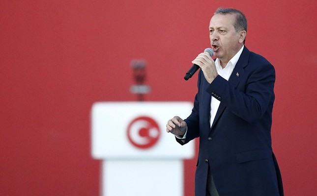Turkish President Recep Tayyip Erdoğan speaks during a rally to protest the failed coup attempt at 15th July 2016 and mourn the 240 killed people including civilians, policemen, and soldiers, in Istanbul, Turkey, 07 August 2016. (EPA Photo)