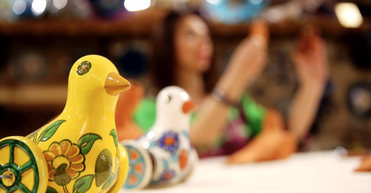 The bird toys made by artist Nida Olu00e7ar are the colorful replicas of  2,700-year-old Phrygian toys.