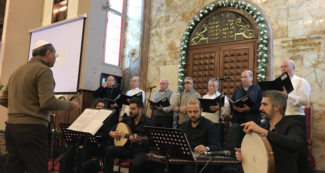 A band performs Sephardic songs at Neve Shalom Synagogue.