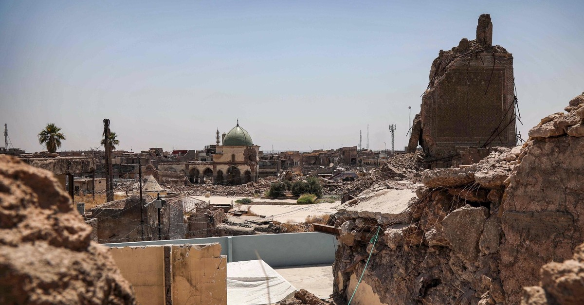 A view of the damaged site of the Great Mosque of al-Nuri in Iraqu2019s war-ravaged Old City of Mosul, Aug. 10, 2019.
