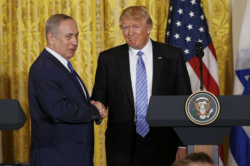 U.S. President Donald Trump (R) greets Israeli Prime Minister Benjamin Netanyahu after a joint news conference at the White House in Washington, U.S., February 15, 2017. (Reuters Photo)