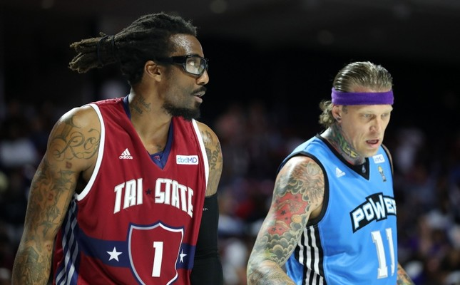 Amar'e Stoudemire #1 of the Tri State looks on from alongside Chris Andersen #11 of the Power during week two of the BIG3 three on three basketball league at at the Liacouras Center on June 30, 2019 in Philadelphia (AFP Photo)