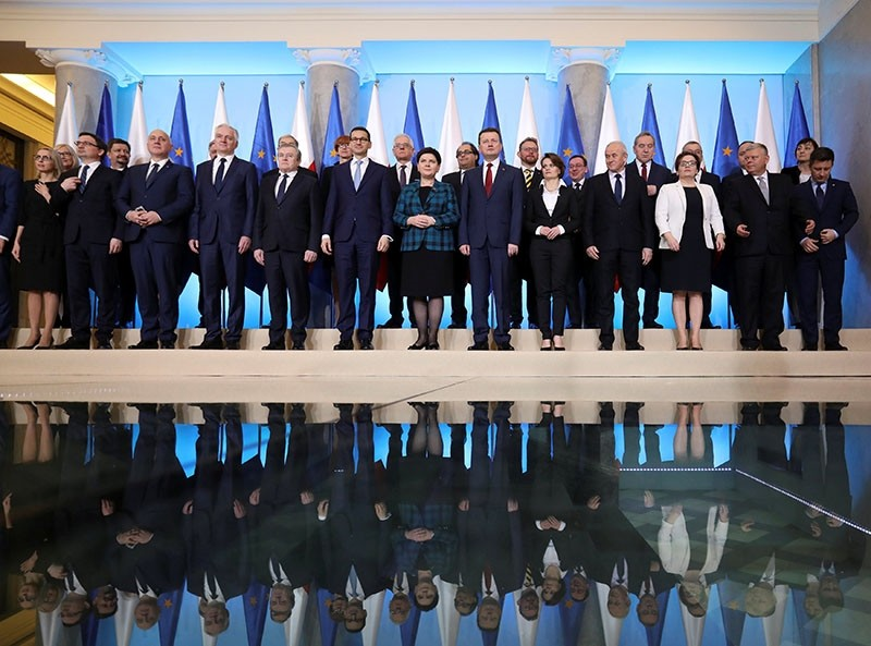 Poland's Prime Minister Mateusz Morawiecki poses with his cabinet after a government reshuffle at Prime Minister Chancellery in Warsaw, Poland Jan. 9, 2018. (Slawomir Kaminski/Agencja Gazeta/via Reuters)