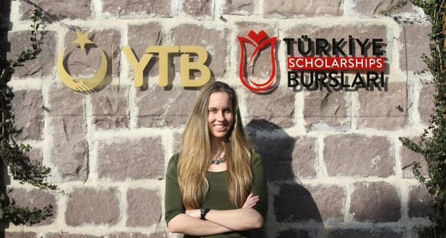 Amanda Rewerts poses in front of the Turkey Scholarship logo on Jan. 21, 2019. Rewerts says they don't have scholarships like this in the U.S.