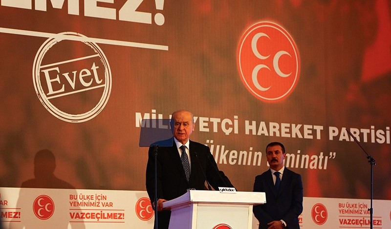 MHP Chairman Devlet Bahu00e7eli speaks on Feb. 12, 2017 in central province of Konya at the weekend meeting held by the party to determine its campaign strategy during the upcoming referendum. (AA Photo)