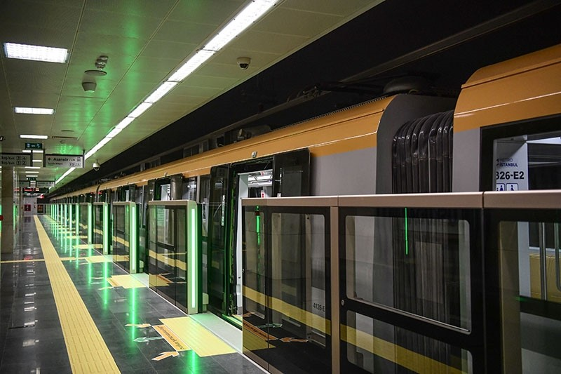 An automated metro train is parked at the u00dcsku00fcdar metro station, ahead of the inauguration ceremony of Turkey's first automated urban metro line on the Asian side of Istanbul, on Dec. 15, 2017 in Istanbul. (AFP Photo)