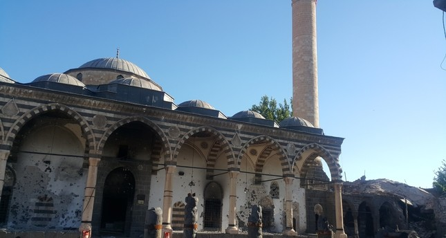A mosque in the Sur district heavily damaged in terror attacks. Bullet holes on its walls are a dire reminder of the months-long terror campaign by the PKK that has left much of the district in ruins.