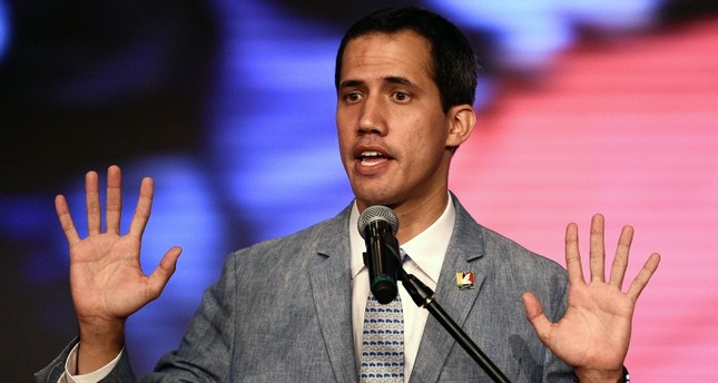 The president of Venezuela's National Assembly and self-proclaimed acting president Juan Guaido delivers a speech at the Central Universidy of Venezuela (UCV) in Caracas on February 8, 2019. (AFP Photo)