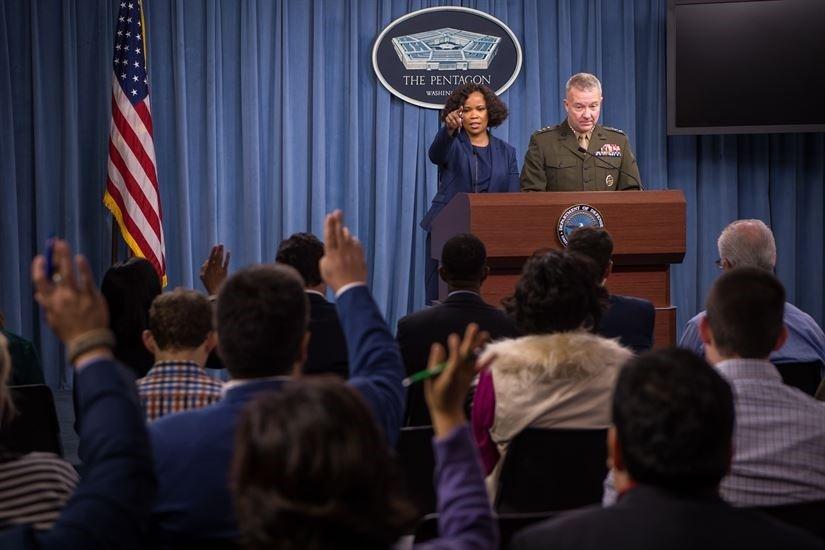 Dana W. White, chief Pentagon spokesperson, and Lt. Gen. Kenneth F. McKenzie, the Joint Staff director, brief the press at the Pentagon in Washington, Oct. 19, 2017 (DoD Photo)