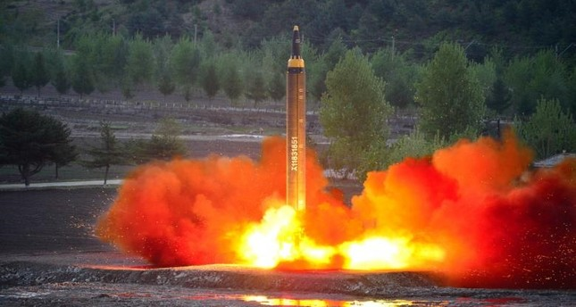 The long-range strategic ballistic rocket Hwasong-12 (Mars-12) is launched during a test. (Reuters Photo)