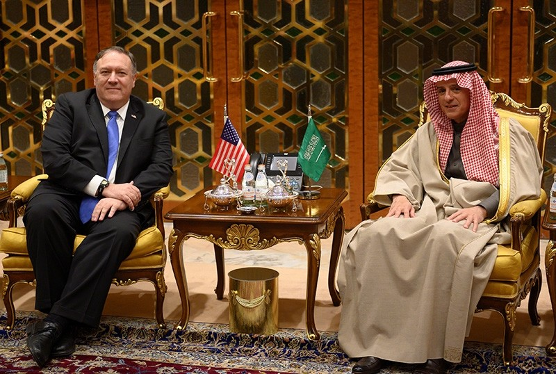 U.S. Secretary of State Mike Pompeo meets with Saudi's Minister of State for Foreign Affairs Adel al-Jubeir upon his arrival in Riyadh, Saudi Arabia Jan. 13, 2019. (Reuters Photo)