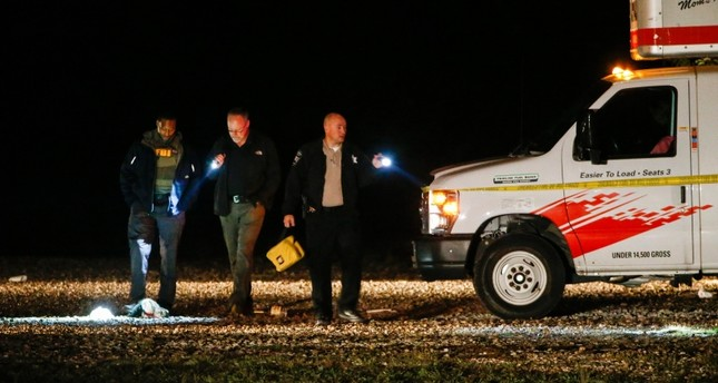 Officials work a crime scene after a shooting at Party Venue on Highway 380 in Greenville, Texas, on Sunday, Oct. 27, 2019. (AP Photo)