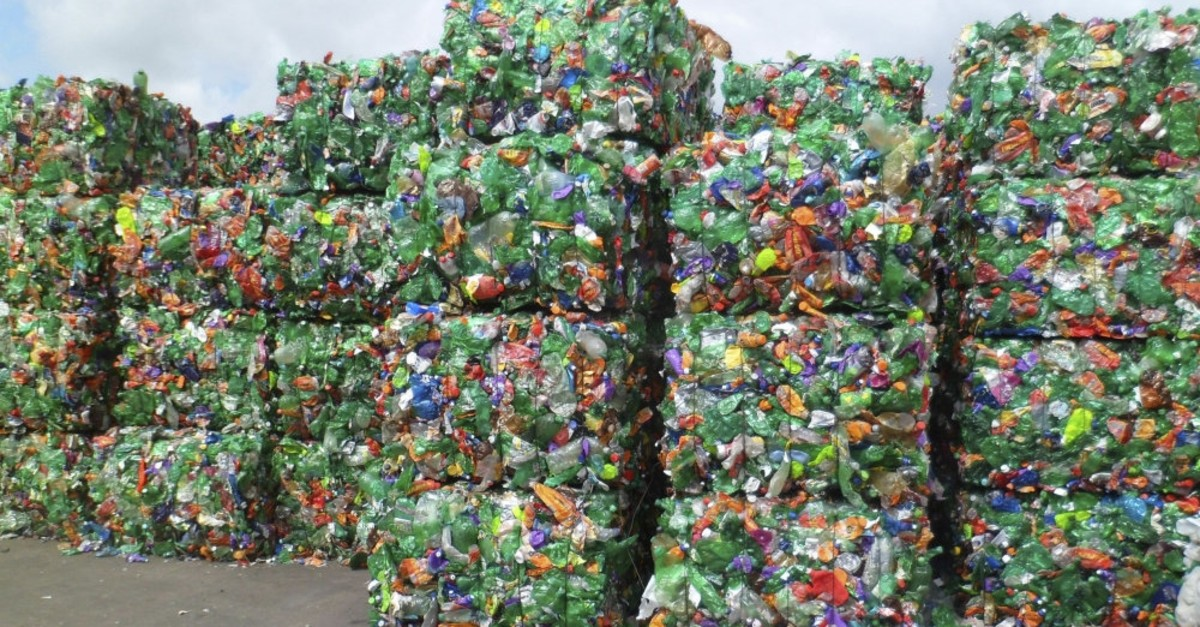 Plastic bottles collected to be recycled in a facility.