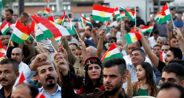 People gather in support of a referendum on independence for Iraqi Kurdistan to be held on Sept. 25, Kirkuk, Iraq Aug. 16, 2017.