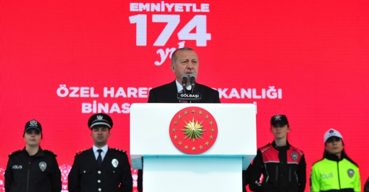 President Recep Tayyip Erdou011fan addresses police officers for the inauguration of the new Police Special Operations Unit headquarters, destroyed by FETu00d6 putschists during July 15, 2016 coup attempt, in Gu00f6lbau015fu0131, Ankara, on April 10, 2019. (IHA Photo)