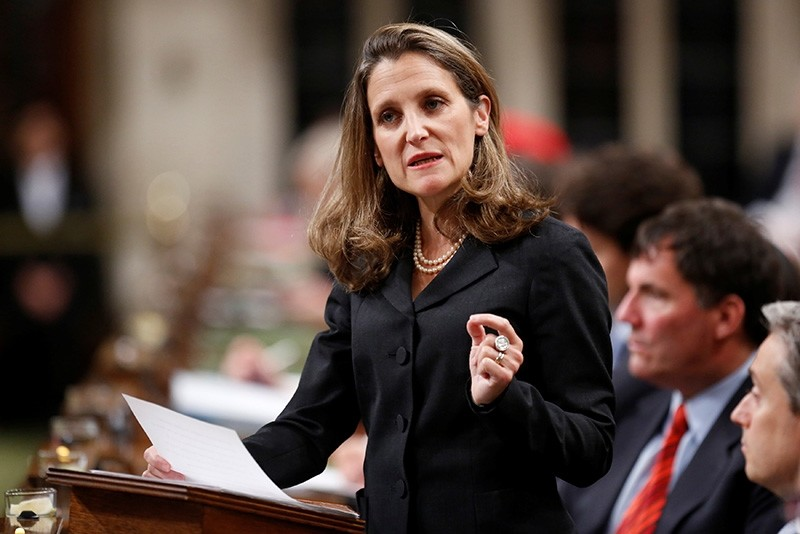 Canada's Foreign Affairs Minister Chrystia Freeland delivers a speech on Canada's foreign policy in the House of Commons on Parliament Hill in Ottawa, Ontario, Canada June 6, 2017 (Reuters Photo)