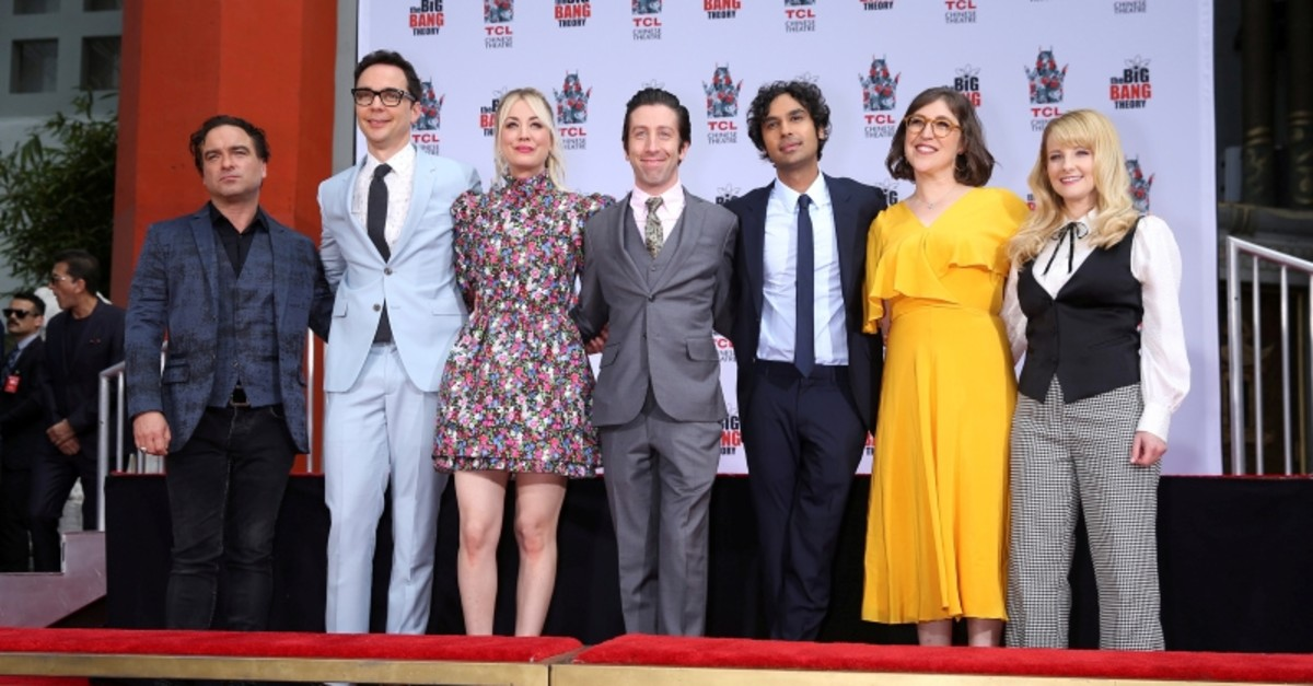 Johnny Galecki, Jim Parsons, Kaley Cuoco, Simon Helberg, Kunal Nayyar, Mayim Bialik and Melissa Rauch participate in the cement handprints ceremony for ,The Big Bang Theory, at the TCL Chinese Theatre IMAX in Hollywood, May 1, 2019. (REUTERS Photo)