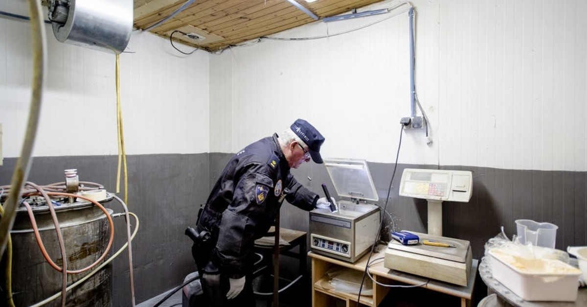 Amphetamine is found during a police raid in Moergestel, southern Netherlands, on April 4, 2016. (AFP Photo)