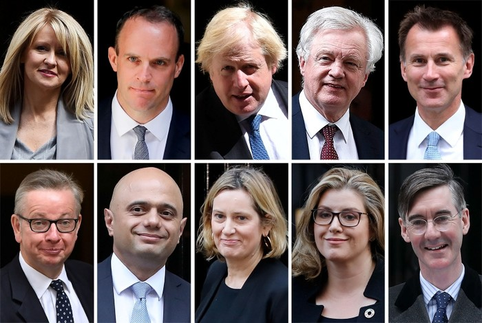 Picture shows Conservative MPs (top row L-R) Esther Mcvey on July 17, 2018, Dominic Raab on July 9, 2018, Boris Johnson on June 13, 2018, David Davis on February 6, 2018, Britain's Foreign Secretary Jeremy Hunt on July 10, 2018 (bottom row L-R) Britain's Environment, Food and Rural Affairs Secretary Michael Gove on July 5, 2016, Britain's Home Secretary Sajid Javid on October 16, 2018, Britain's Work and Pensions Secretary Amber Rudd on November 13, 2018, Britain's International Development Secretary and Minister for Women and Equalities Penny Mordaunt October 9, 2018 and Jacob Rees-Mogg, chair of the Euro-sceptic European Research Group (ERG), all pictured in London. (AFP Photo)