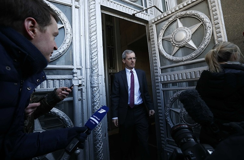 British Ambassador to Russia Laurie Bristow leaves the Russian Foreign Ministry in Moscow, Russia. (Reuters Photo)