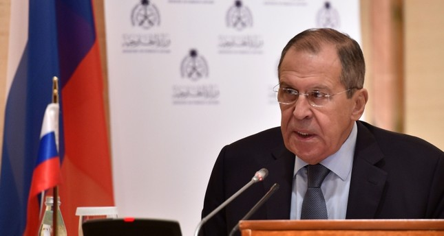 Russian Foreign Minister Sergei Lavrov gives a joint press conference with with the Saudi minister of state for foreign affairs at the Royal Hall of the Saudi capital Riyadh's King Khalid International Airport on March 4, 2019.(AFP Photo)