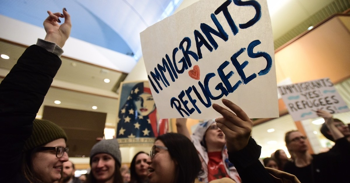People protest against U.S. President Donald Trump's decision to impose a travel ban on immigrants from certain Muslim-majority countries, Portland Airport, February 3, 2017.