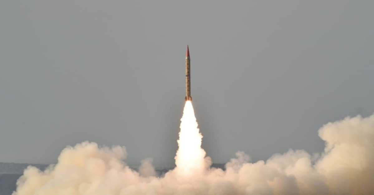 This handout released by Inter Services Public Relations on May 23, 2019 shows Shaheen II, surface-to-surface ballistic missile capable of delivering conventional and nuclear weapons at a range of up to 1,500 miles, during a launch (ISPR via Reuters)