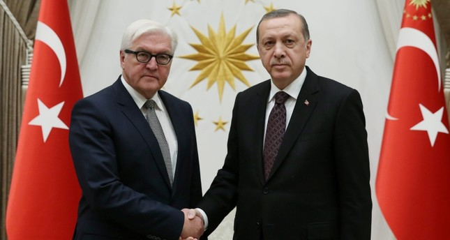 President Erdoğan (R) with then-Federal Minister for Foreign Affairs Frank-Walter Steinmeier in Ankara. (AA Photo)