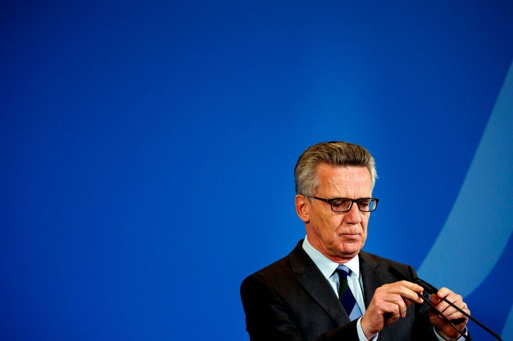German Interior Minister Thomas de Maiziere speaks during a press conference in Berlin about the deportation measures to Afghanistan, Sept. 13.