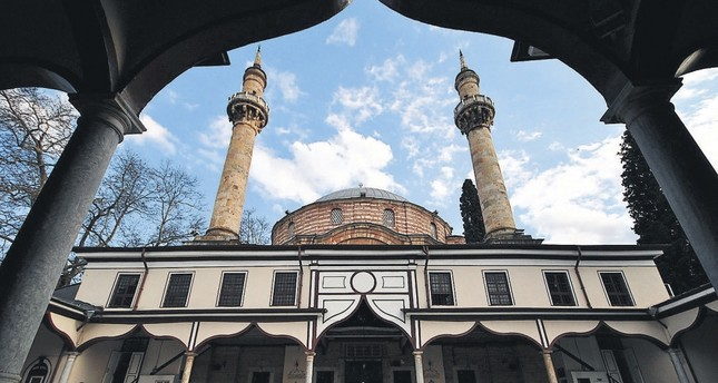 The courtyard of Emir Sultan Mosque, Bursa, Turkey.