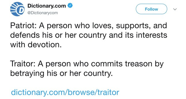 Dictionary.com tweets definition of 'traitor' as Trump comes under fire upon Helsinki summit